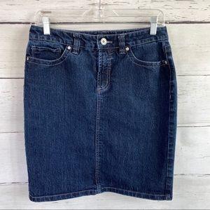 Nine West Jean Pencil Skirt Dark Wash